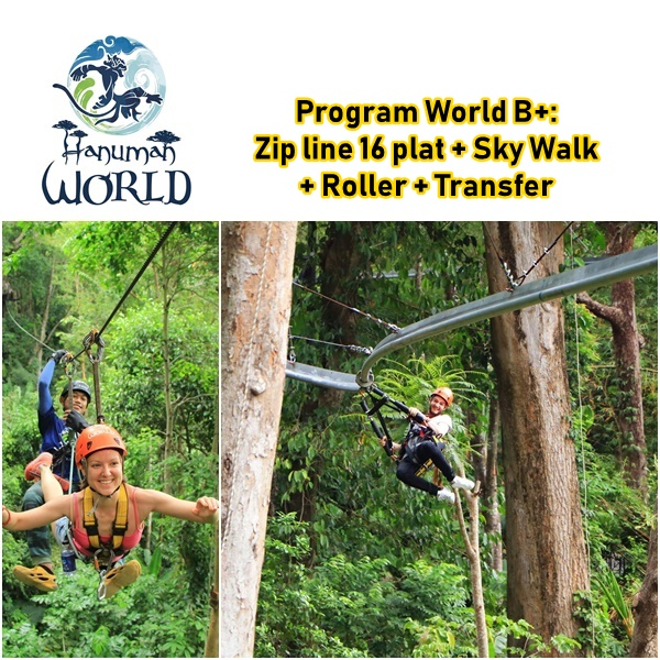 Zip line Hanuman World 16 Plat Sky Walk Roller